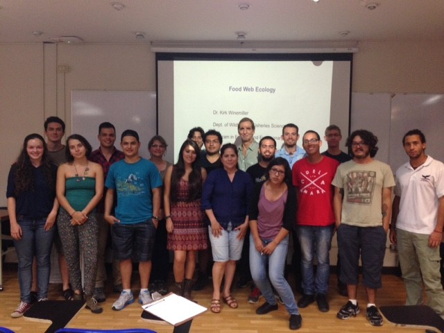 Dr. Winemiller also taught a pre conference course on food web ecology to 17 registrants at the University of Costa Rica campus in San José